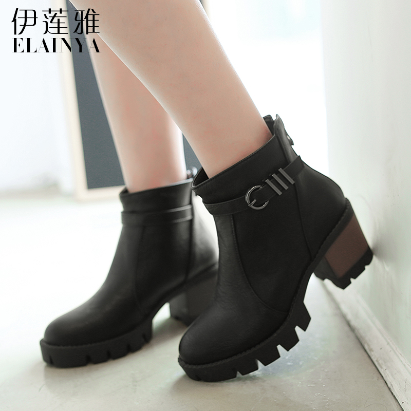 Elaine ya fashion tide 2016 autumn and winter new belt buckle high heels rough with short boots women boots and ankle boots single boots