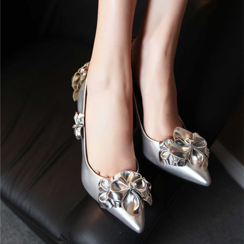 Elegant three-dimensional flowers gray mother of 11cm super high heels fine with pointed shoes shallow mouth shoes bridal shoes wedding shoes silver shoes