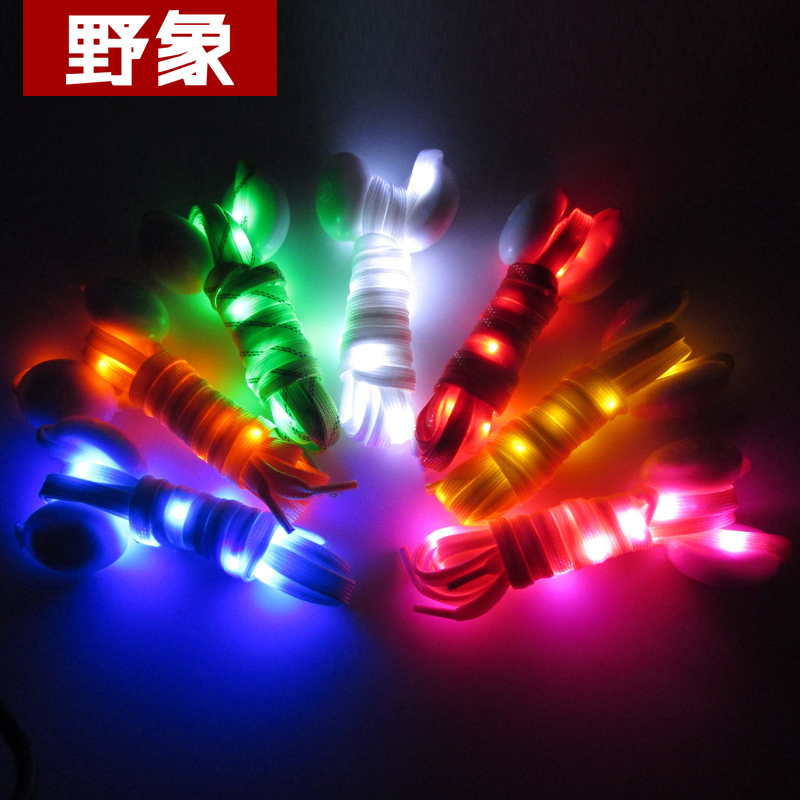 Elephants eighth led flash luminous shoelace flat fluorescent luminous shoelace flashing shoelace fashion creative gifts