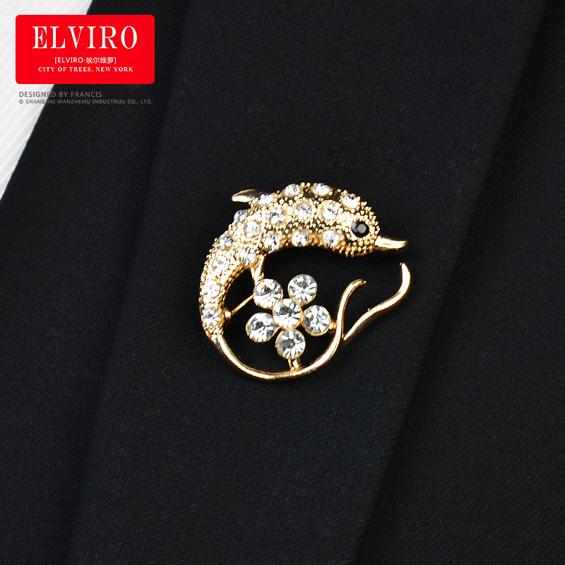 Elviro korean jewelry dolphin diamond wedding suit golden tide men brooch brooch brooch fashion decoration