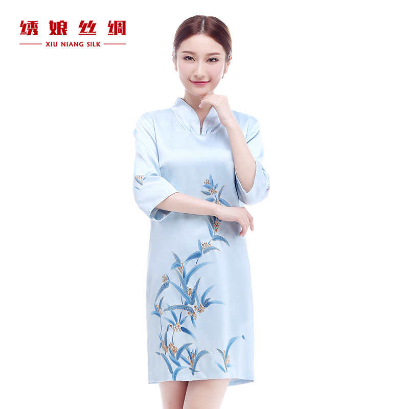 Embroidered mother painted style spring and summer women dress heavy silk satin silk su länder embroidered chinese dress