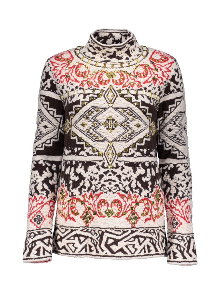 Emilio pucci spell color geometric pattern sweater turtleneck sweater and a half metal ornaments