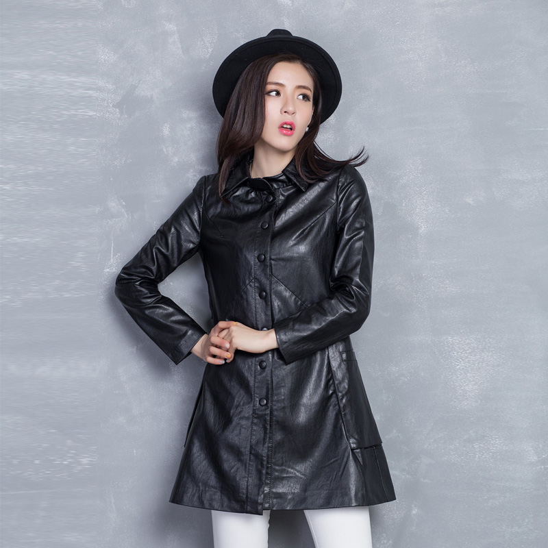 Emperor qian women's casual leather coat jacket and long sections 2016 spring and autumn new korean version of the leather jacket leather jacket women jacket
