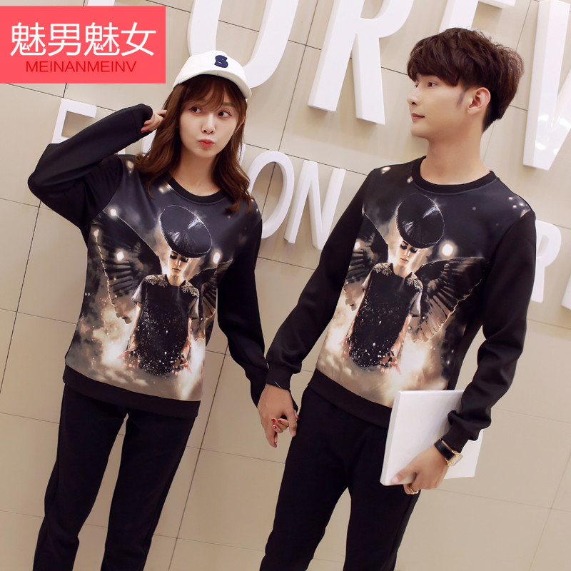 Enchantment enchantment male female 2016 autumn new korean version of casual pullover sweater lovers autumn tide sweater suit set