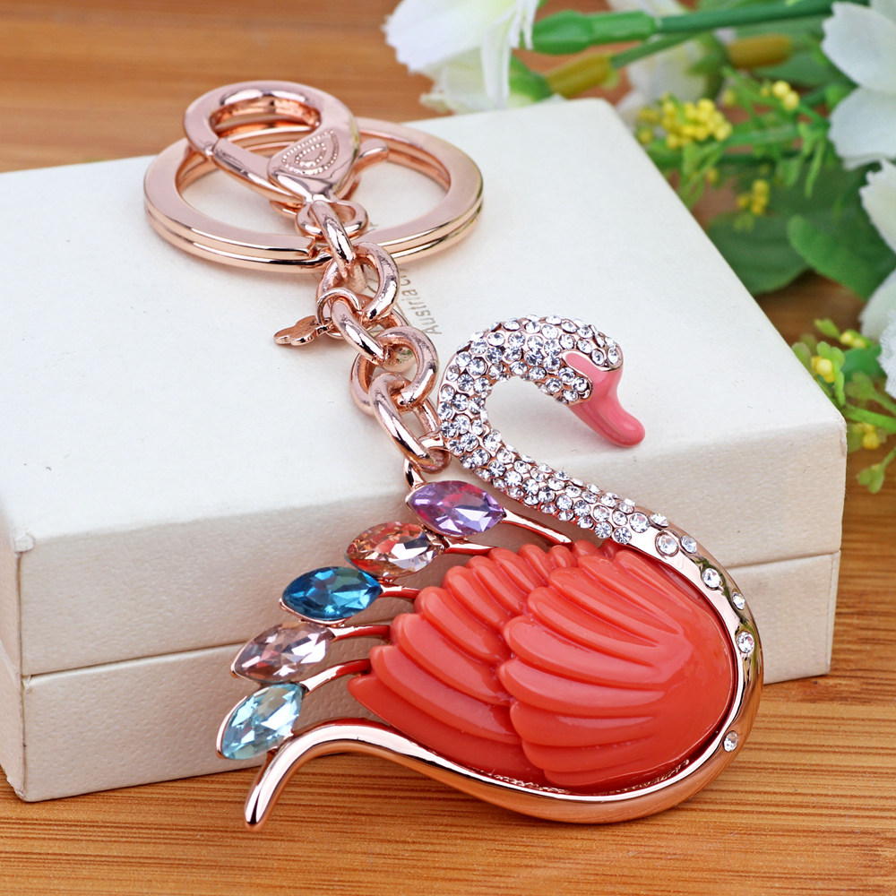 Enchantment still car key ring chain korean female couple swan car key pendant bag hanging ornaments creative gifts