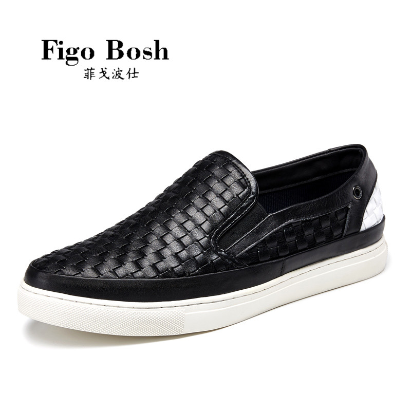 End custom brand figobosh autumn new leather men's british style round spell color sets foot shoes