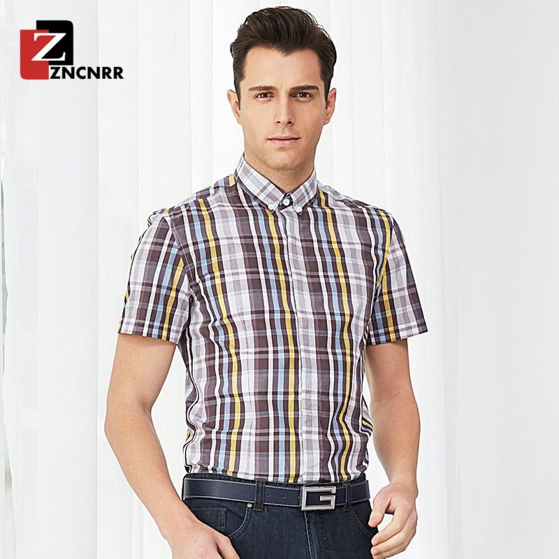 End custom zncnrr 2016 new summer business casual men's plaid slim was thin short sleeve shirt