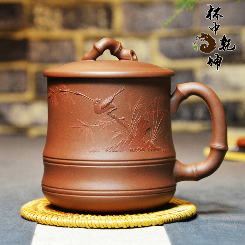 End! large ore yixing purple clay tea cup lid section triquetra hand full of famous heap bird boutique office workers