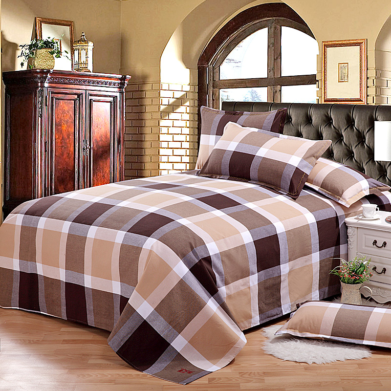England plaid old coarse cotton linens single single double thick cotton cloth sheets 1.5m1.8 m bed