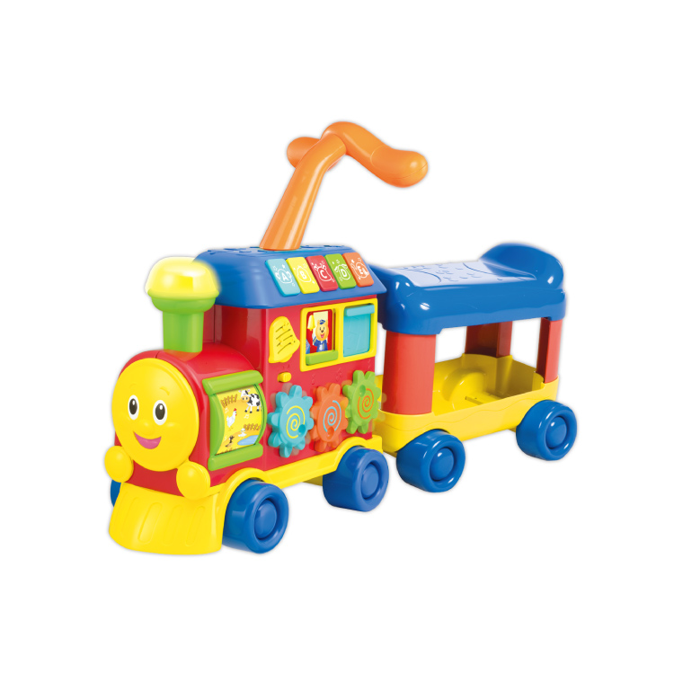 English learning fun train walker music infant baby educational toys fitness 1-2-year-old pushcart 0803
