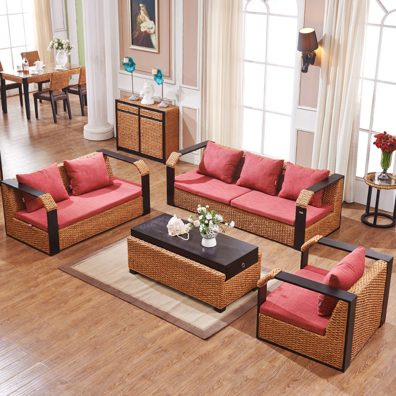 Enjoy the sense of home living room furniture rattan sofa rattan sofa rattan sofa rattan sofa coffee table combination neoclassical sofa