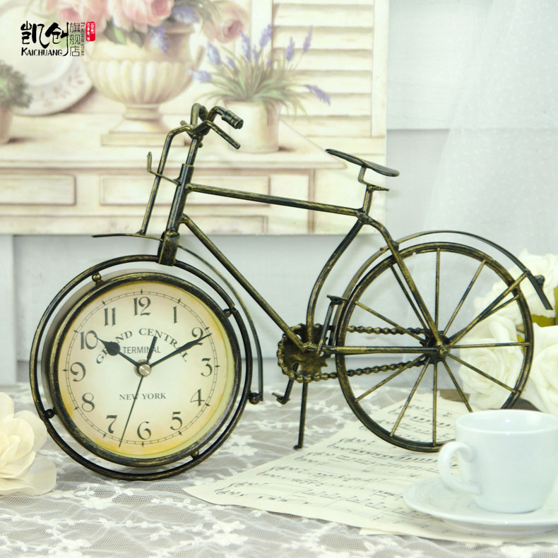 Enterasys home decoration decorative wrought iron clock retro bicycle bell european pastoral nostalgia wave mute table clock