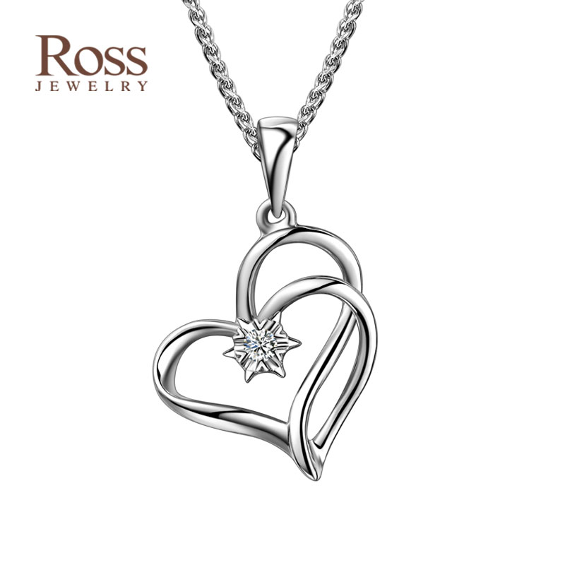 Enthone ross' k white gold diamond heart pendant jewelry single diamond pendant necklace pendant female new year gift