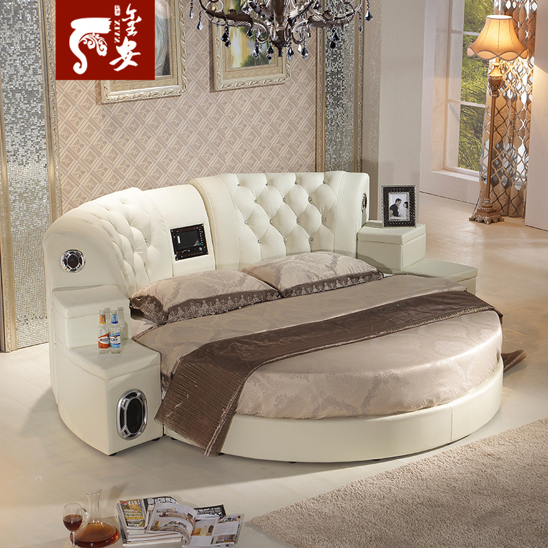 Euclidian sound round bed soft bed leather bed double bed 2.2 m marriage bed leather bed leather bed 2