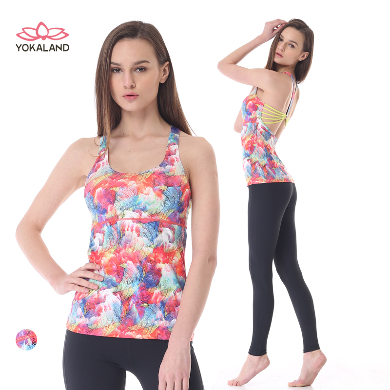 Eukanuba lotus dance clothes even more new fashion printed halter vest workout clothes yoga clothes tops btw017