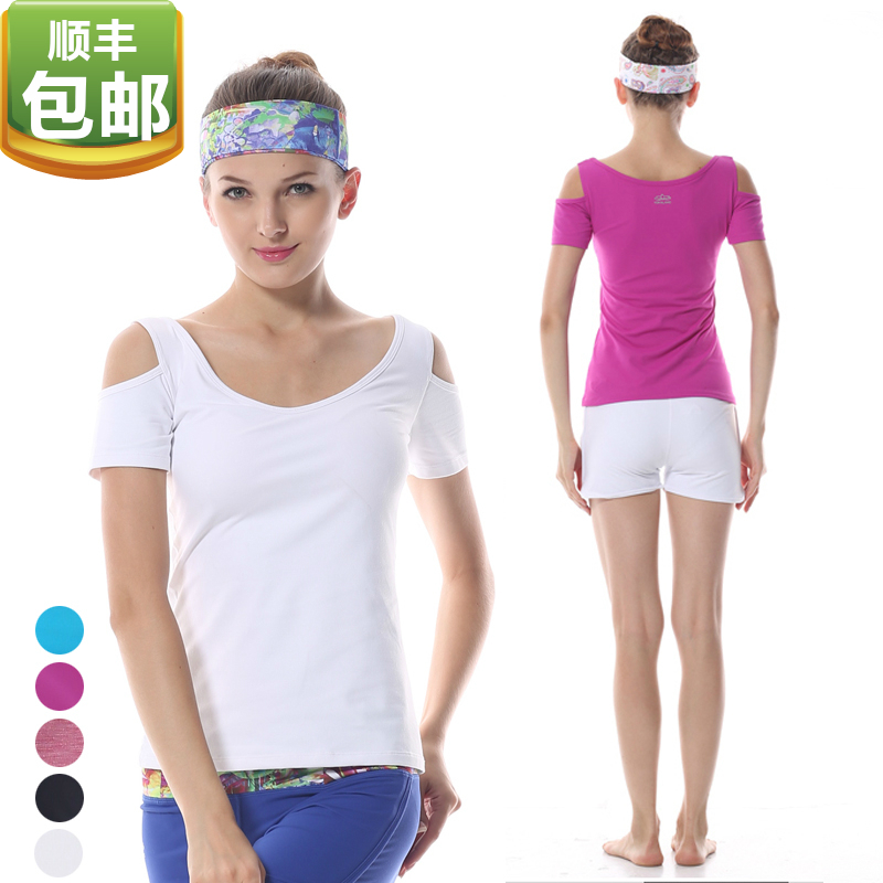 Eukanuba lotus yoga clothes tops new spring and summer fashion strapless short sleeve dance clothes increasingly workout clothes btw026
