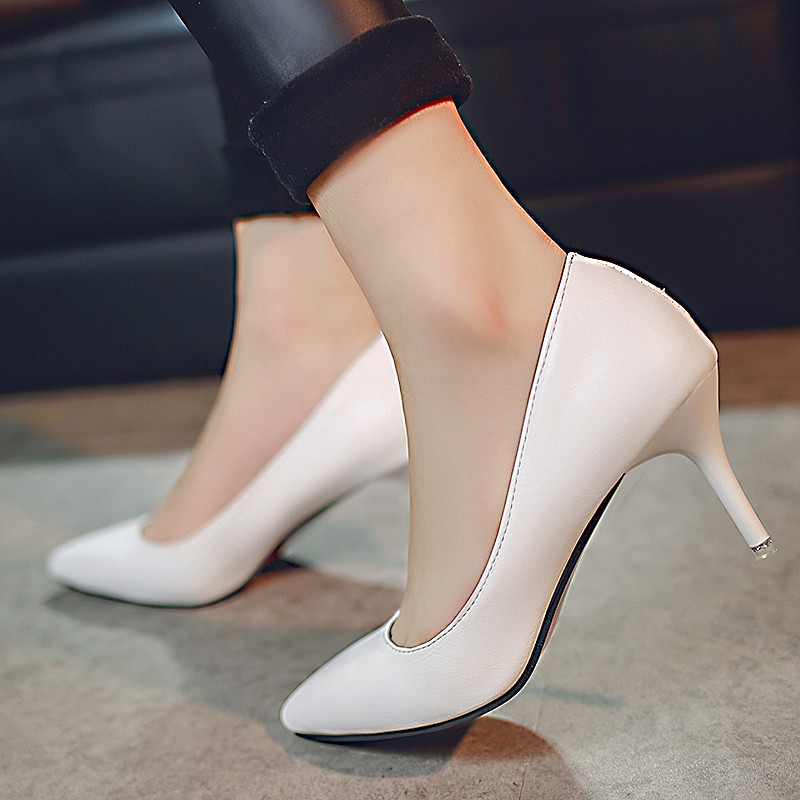 Europe and the united states 7.08ct 5cm nude color heels pointed fine with shallow mouth sexy female spring and autumn black work shoes single shoes 2016