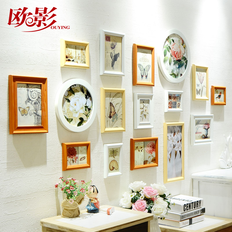 Europe shadow european solid wood photo wall creative photo frame round frame wall combination of small living room bedroom home decorations