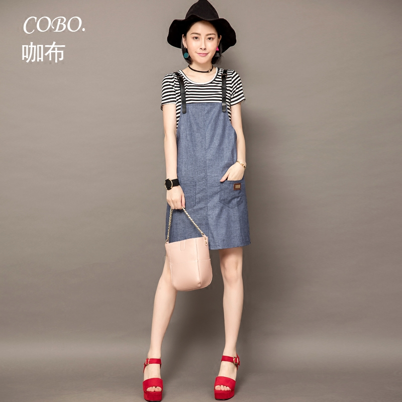 Europe station 2016 summer new european cargo casual striped piece fitted strap dress summer dress korean female tide