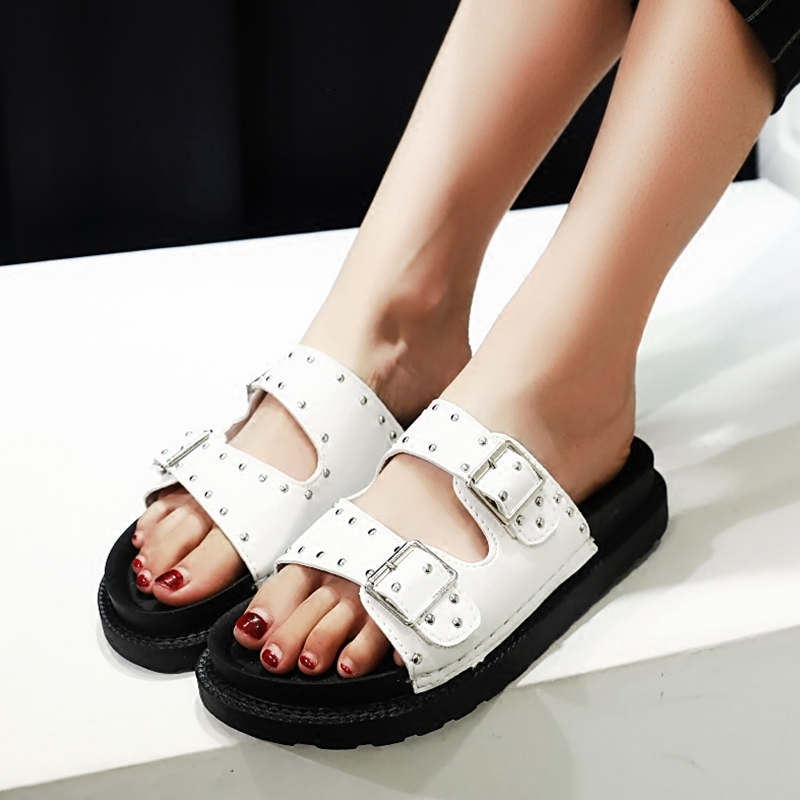 Europe station 2016 summer new flat sandals and slippers female summer sandals casual shoes belt buckle simple bottomed shoes