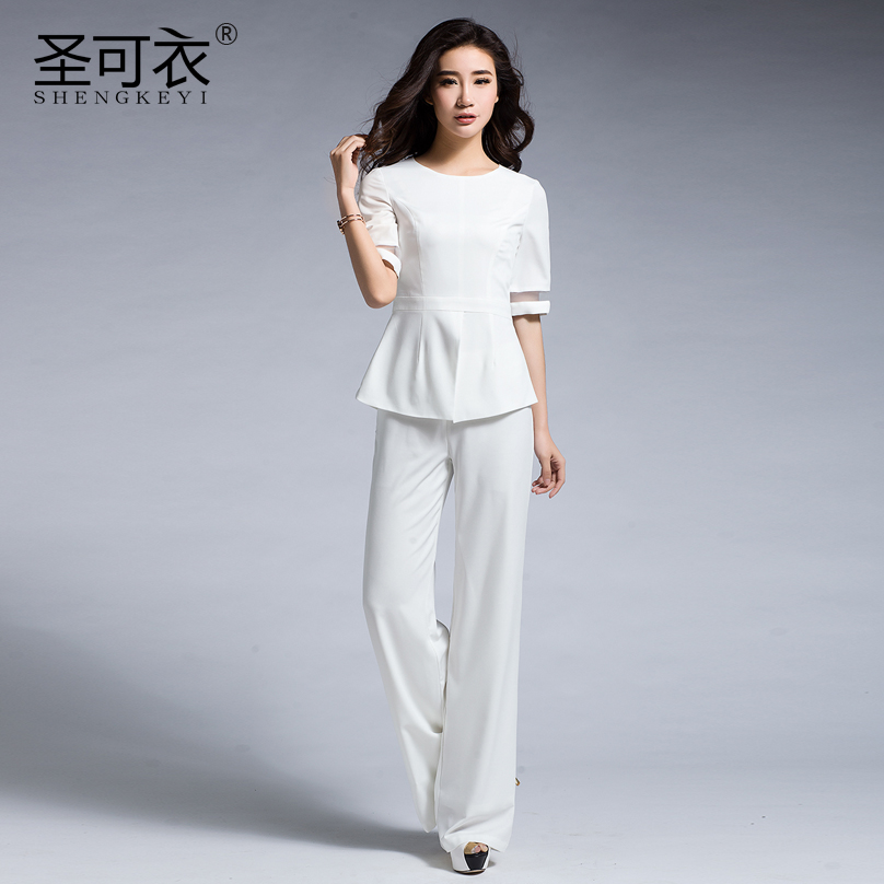 Europe station 2016 summer women in europe and america was thin small fragrant wind ladies fashion casual pants wide leg pants suit female models