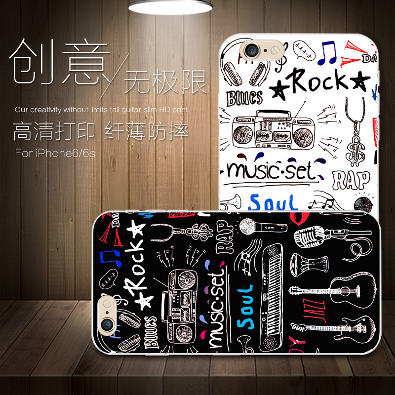 European and american creative apple s mobile phone shell silicone soft shell painted music iphone6plus popular brands shell tide