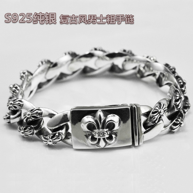 European and american fashion 925 sterling silver bracelet sterling silver bracelet wide face men's domineering personality tide