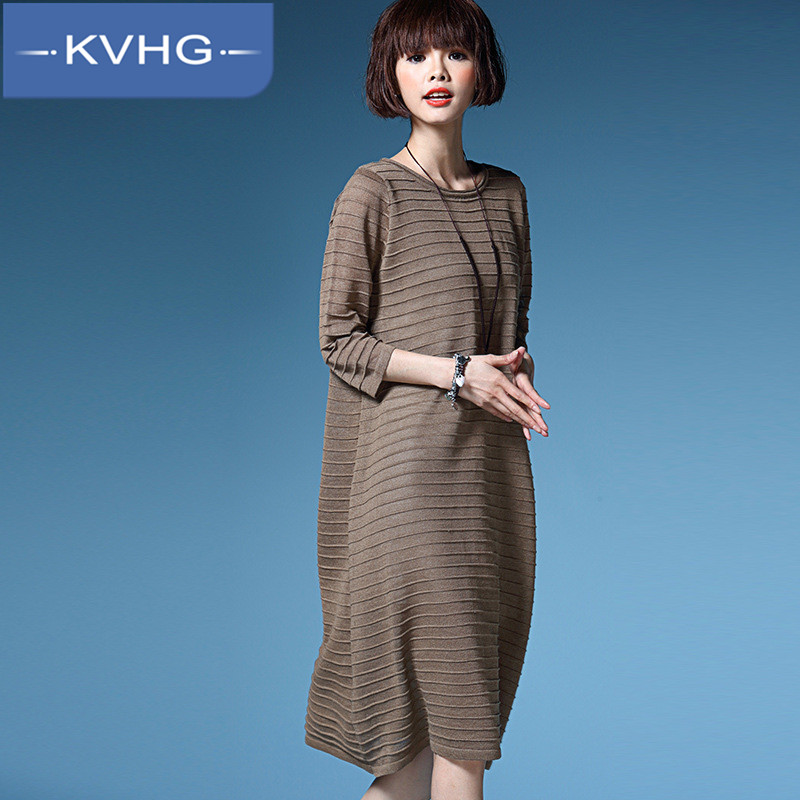European and american style fashion long section folds kvhg comfort thin section hedging loose knit dress skirt tide 8709