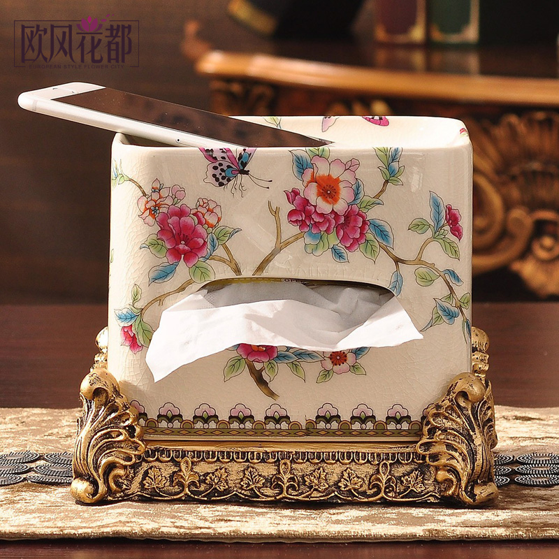 European ceramic tissue box pumping tray american luxury home decorations living room decoration ideas napkin