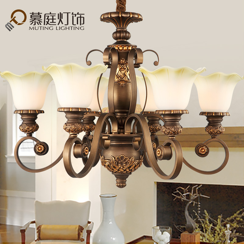European chandeliers living room lights jane european pastoral retro american iron lamp bedroom lamp lighting resin antique lamps