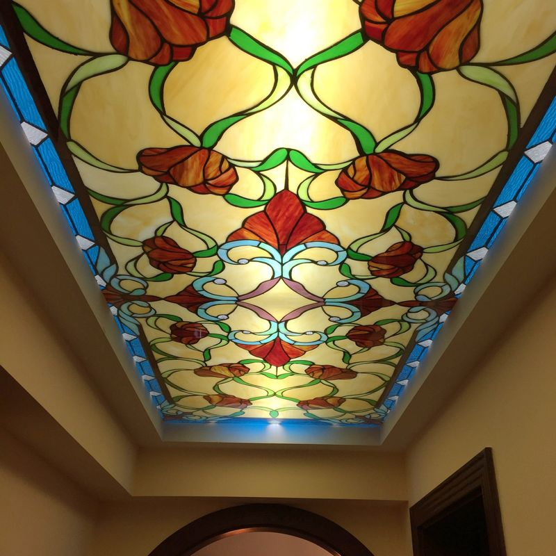 European church stained glass/stairs ceiling/entrance door ceiling/aisle ceiling/custom art glass