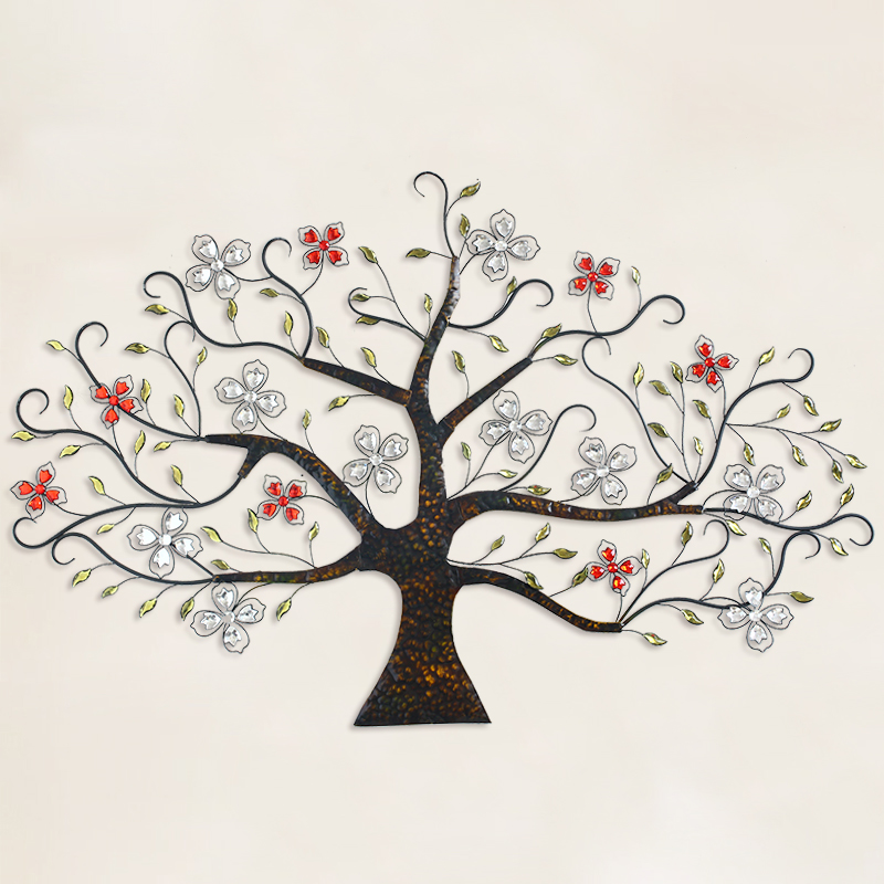 European creative retro decorative wrought iron tree dimensional crystal flower superlarge background living room wall hangings background wall hangings