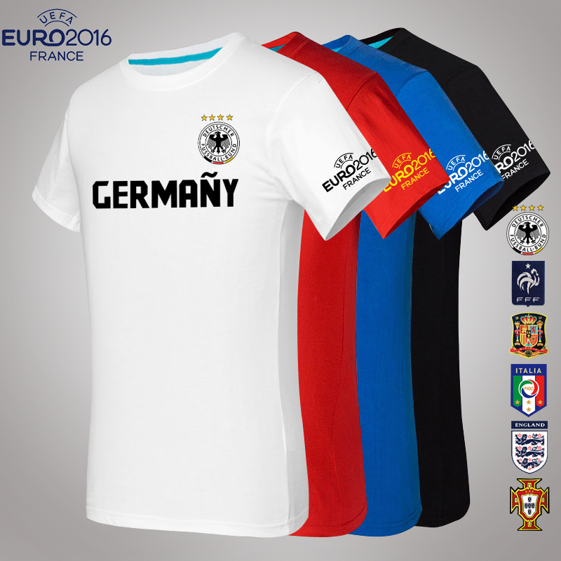 European cup ball clothes men short sleeve t-shirt 2016 summer of the french team germany italy spain sleeve cotton