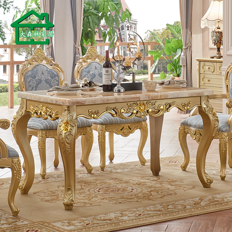 European forest furniture marble dining table dinette combination of small apartment wood dining table dining table for four champagne y1