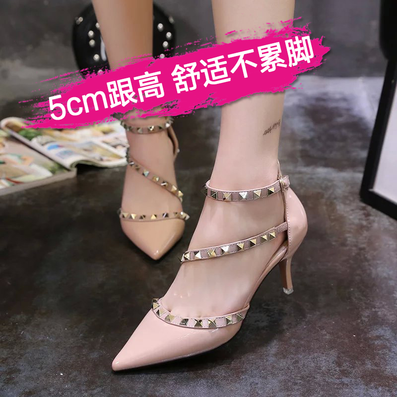 e2957dc1e0fe6 Get Quotations · European leg of the spring and summer shoes sexy nightclub  nude color heels pointed fine with