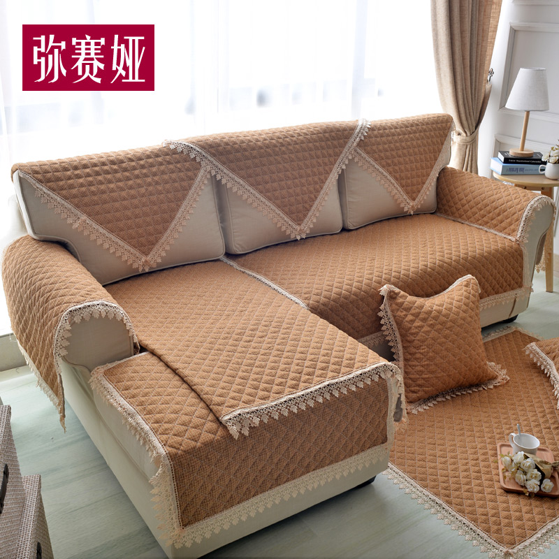 European linen sofa cushion four seasons cotton solid color fabric sofa cover slip leather sofa sets sofa towel