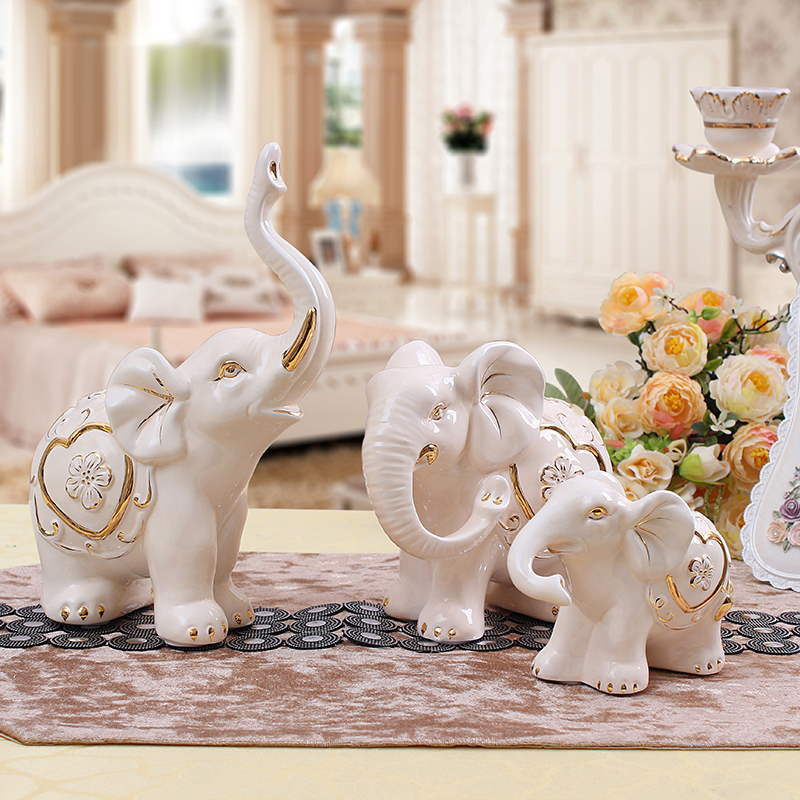 Get Quotations European Modern Minimalist Fashion Ceramic Gilt Ornaments A Three Creative Elephant Home Decoration Table Pieces