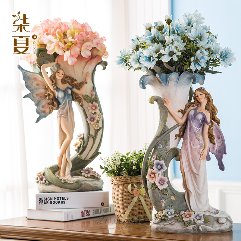 European pastoral creative retro living room table vase ornaments floral decorations simulation flower decoration housewarming gift