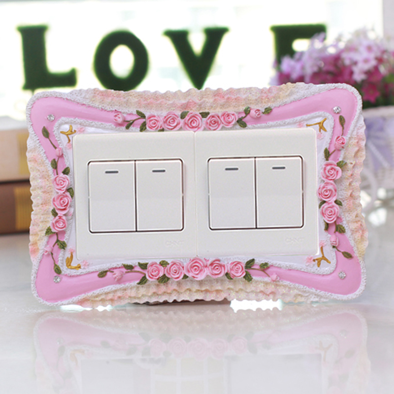 European pastoral resin triple double switch stickers wall stickers creative decorative stickers socket switch sets protective sleeve korea