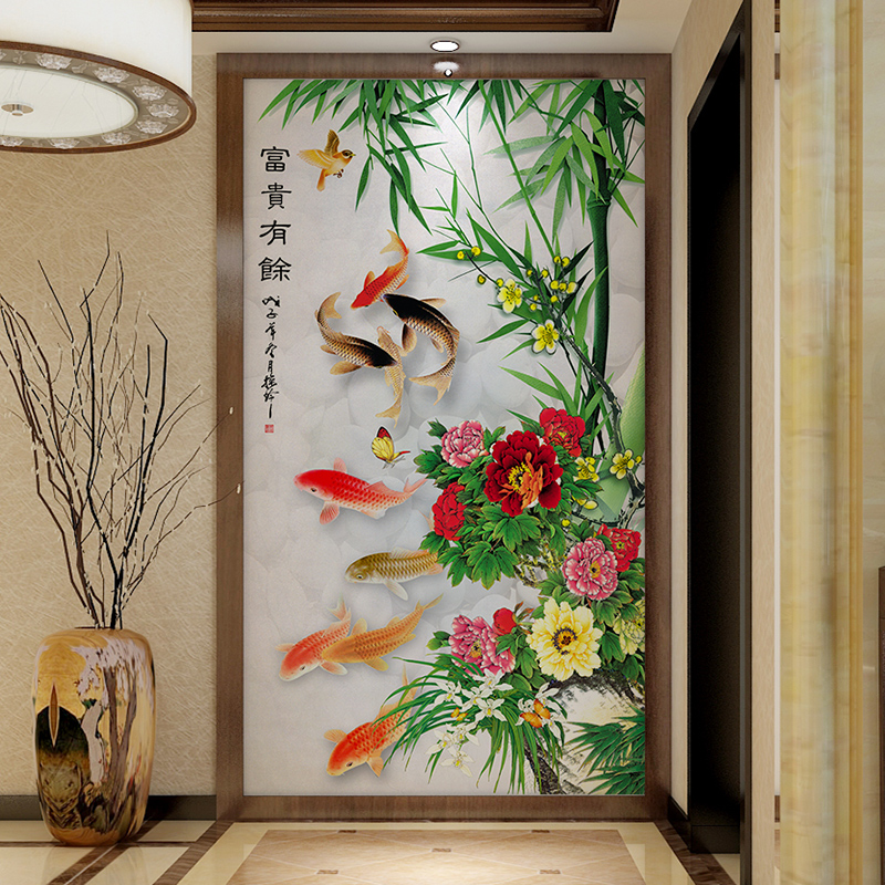 European prime modern chinese nine fish peony bamboo hallway off the entrance hallway wallpaper background wallpaper mural