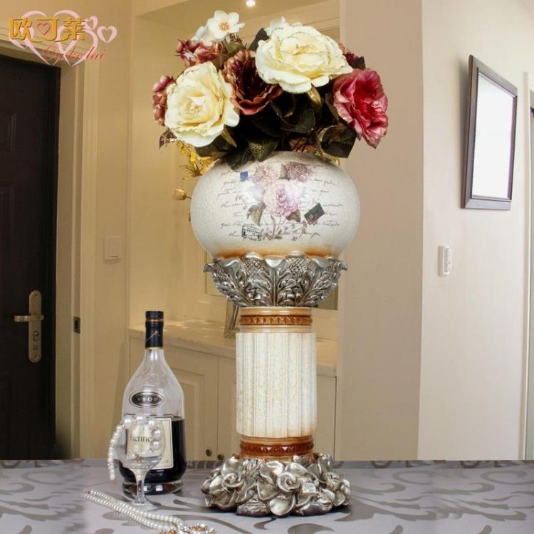 European retro pastoral resin vase flower holder living room luxury crafts decoration