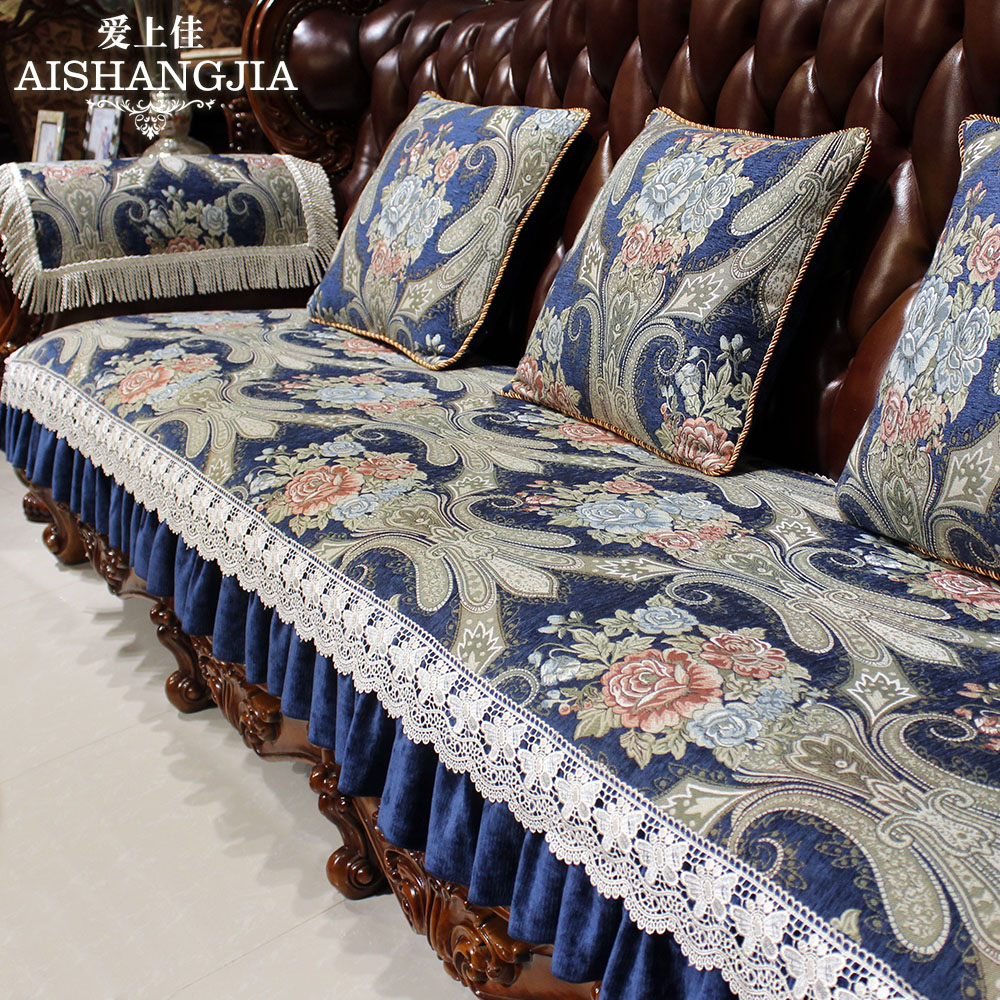 European sofa cushion blue american upscale luxury four seasons slip fabric cushion living room leather sofa cover towel sets