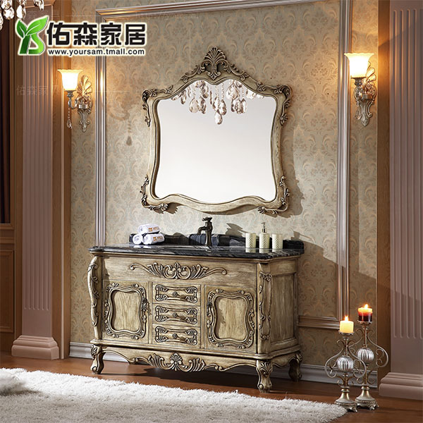 European solid wood bathroom cabinet wood floor cabinet wash cabinet bathroom cabinet grooming cabinet carved marble bath wei wts