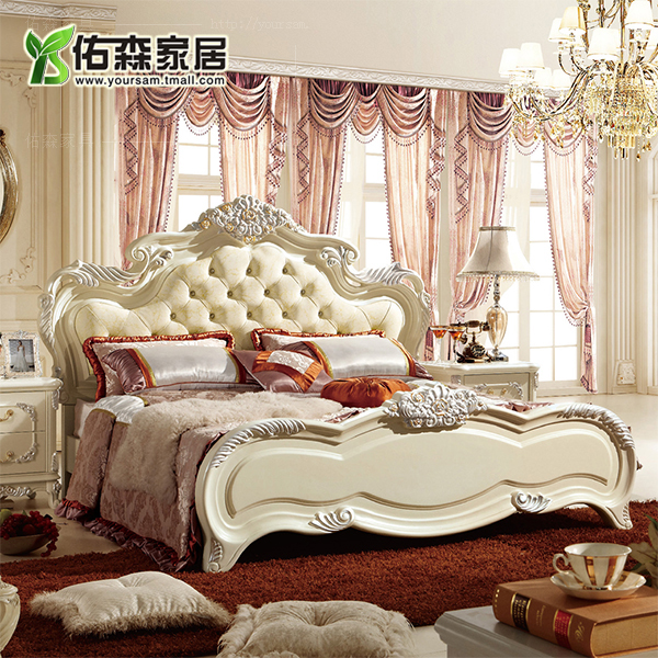 European solid wood bedroom furniture suites of furniture european classical carved wood bed double french palace furniture yl