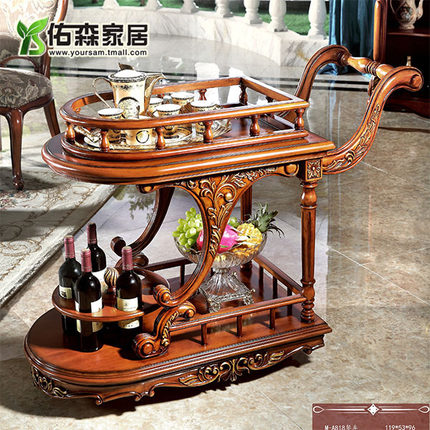 European solid wood carved american classical double living room dining car mobile diner diner drinks trolley car h