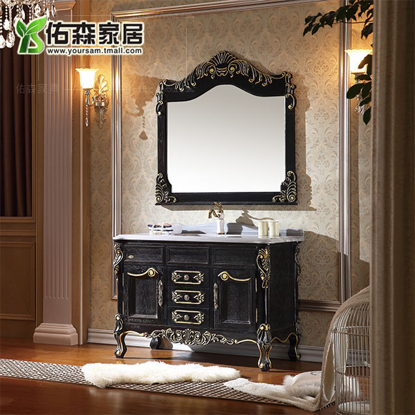 European solid wood carved marble floor bathroom cabinet washbasin cabinet wash cabinet bathroom cabinet cabinet grooming wts