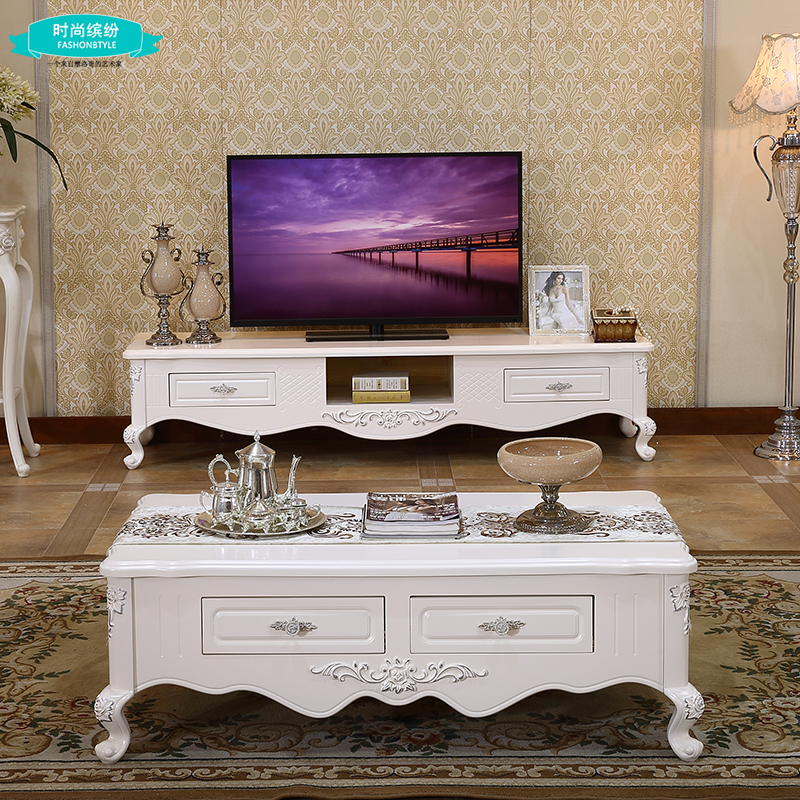 European solid wood tv cabinet coffee table combination package silver white depiction of french marble tea table minimalist living room cabinet