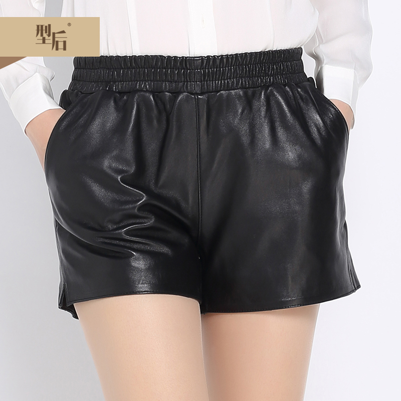 European stations new winter sheep skin leather shorts leather pants big yards female was thin elastic waist wide leg pants shorts