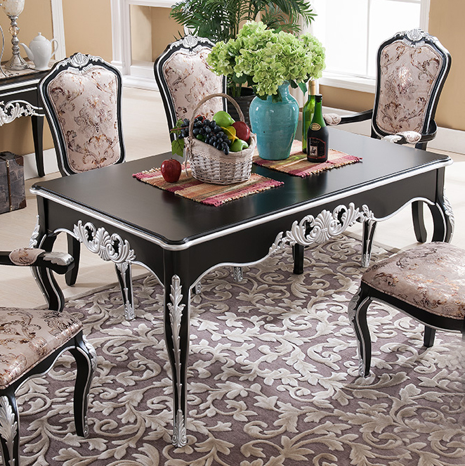 European wind blowing neoclassical european depiction silver neoclassical furniture carved wood dining table dining table and three packs