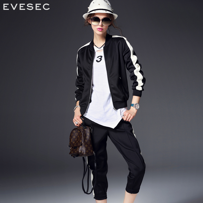 Evesec wei yi new spring and summer women's european grand prix 2016 explosion models black and white shirt hit the color casual bar across the pants suit